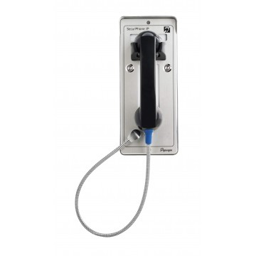 Gray analog security telephone Emergency 2 buttons