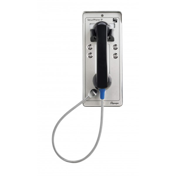 Gray analog security telephone Emergency 4 buttons