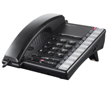 Téléphone de bureau analogique noir entrée de gamme bien équipé