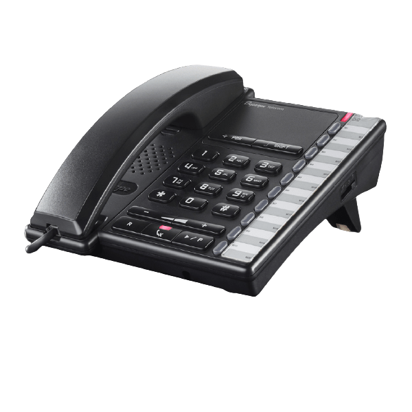 Well-equipped entry-level black analog desk phone