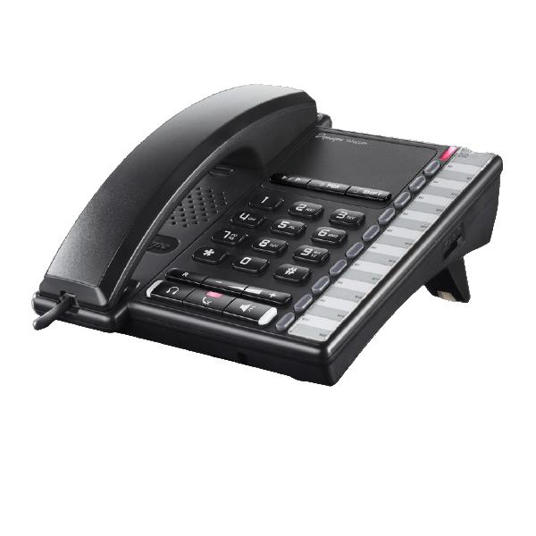 Téléphone de bureau analogique noir milieu de gamme évolué