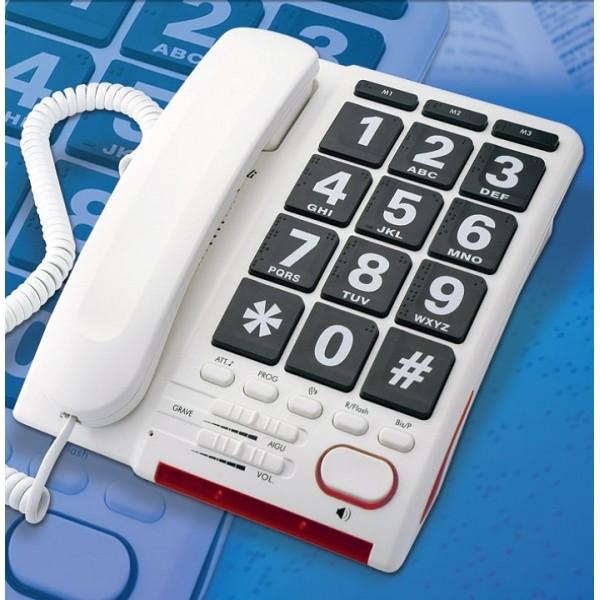 Telefone analógico com teclas muito largas em Braille