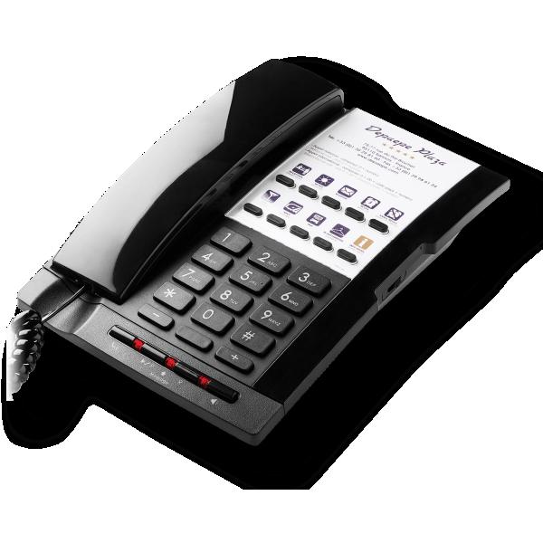 Teléfono analógico negro de hotel 10 memorias manos libres y etiqueta grande personalizable