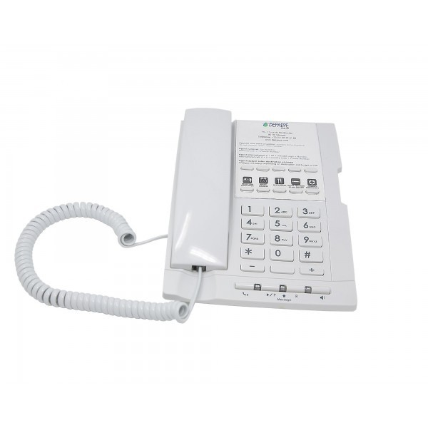 White analog hotel telephone 10 memories hands-free and large customizable label