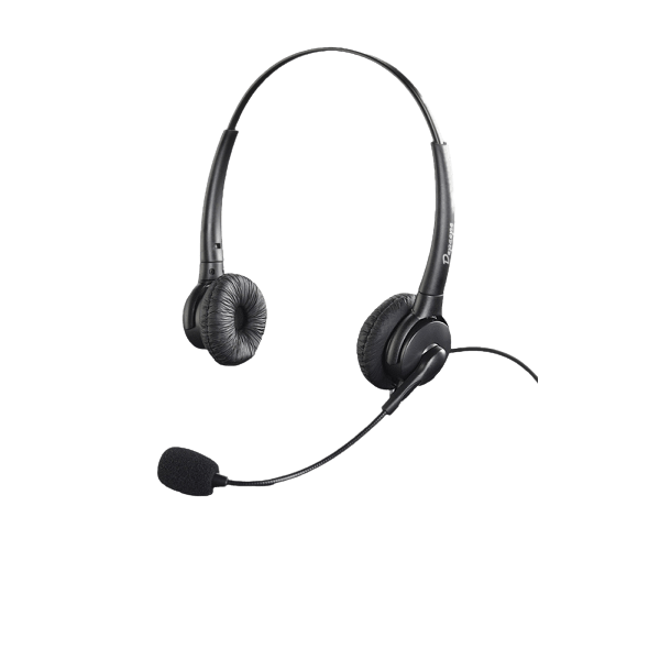 Auscultadores HD binaural robusto e prático com 2 fones de ouvido e microfone direcional