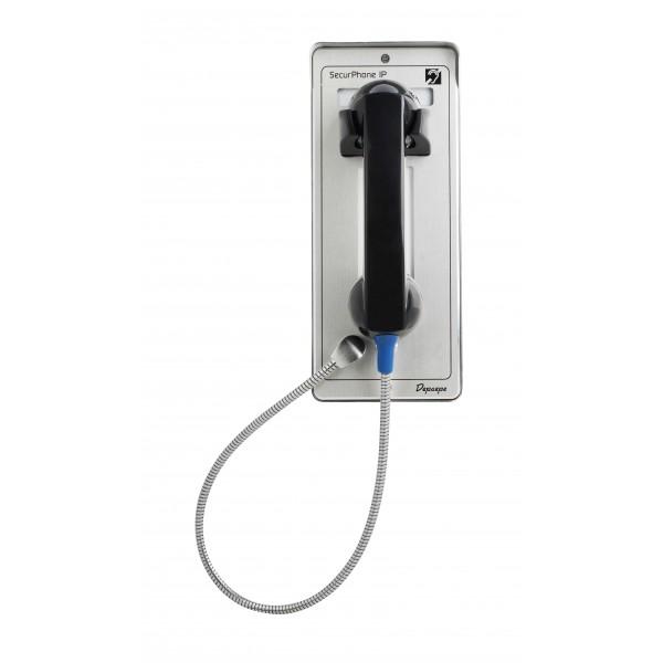 Gray analog security telephone without keypad Emergency