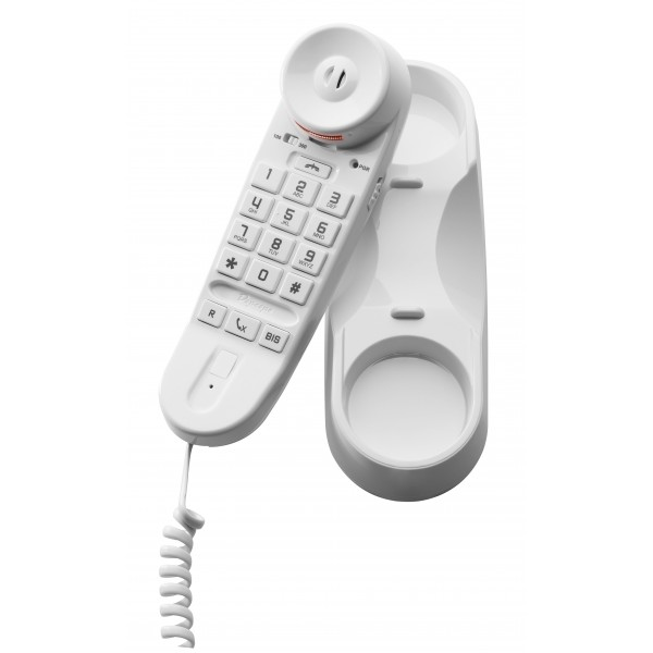Compact white analogue monoblock telephone with keypad integrated into the handset