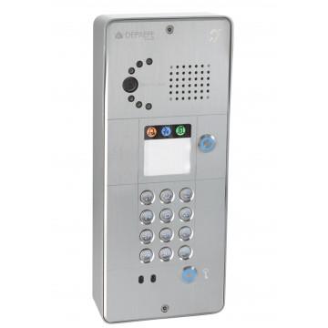Interfone IP cinza com teclado 1 botão