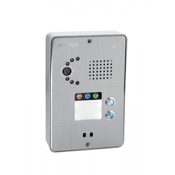 Interfone IP compacto cinza 2 botões
