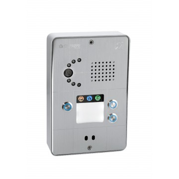 Interfone IP compacto cinza 3 botões