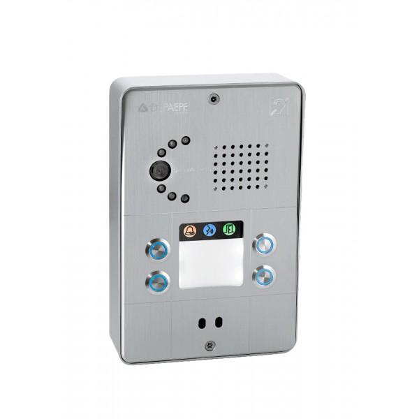 Interfone IP compacto cinza 4 botões
