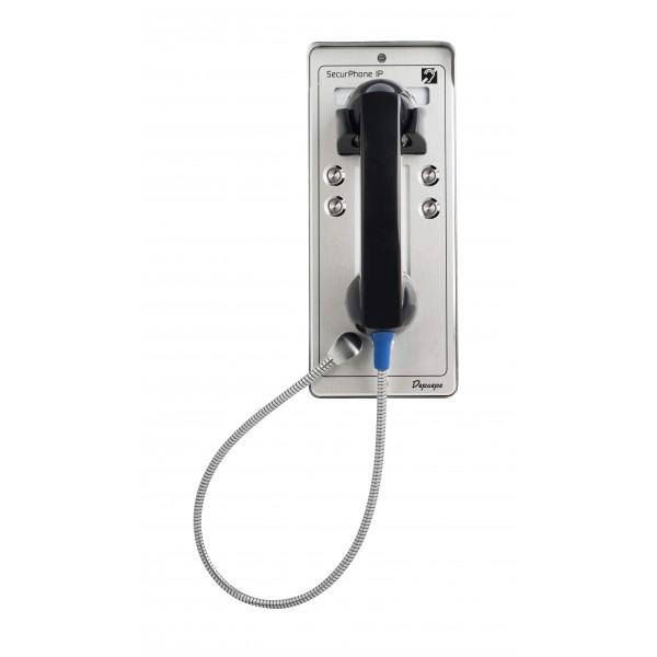 Telefone de segurança cinza SIP PoE emergência 4 botões