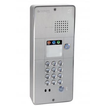 Interfone analógico cinza com teclado 1 botão