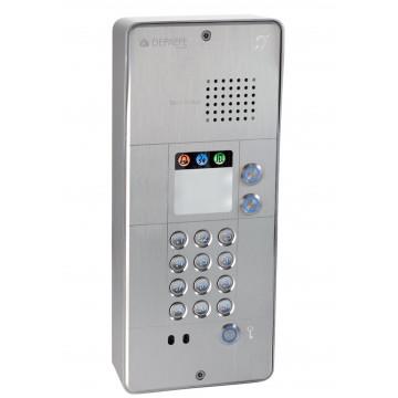 Interfone analógico cinza com teclado 2 botões