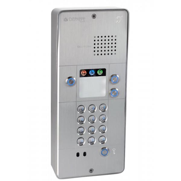 Interfone analógico cinza com teclado  3 botões