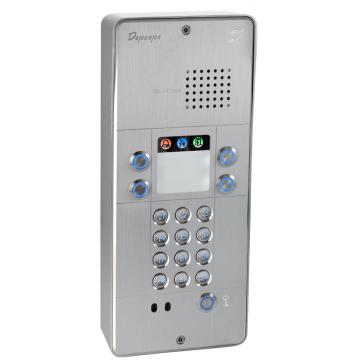 Interfone analógico cinza com teclado 4 botões
