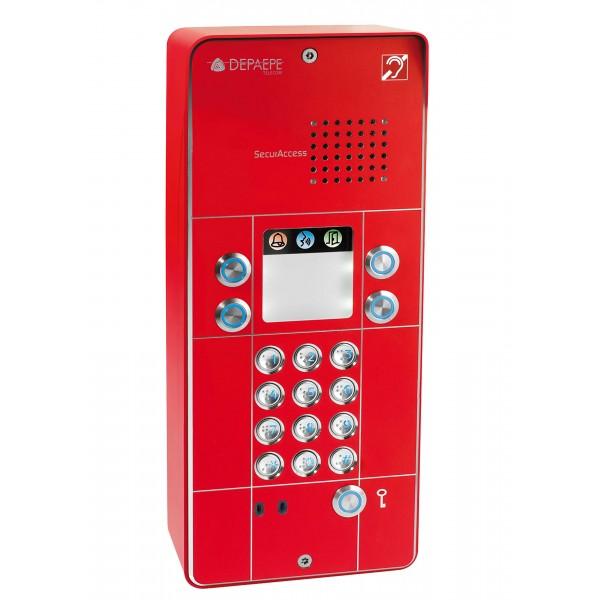 Interfone analógico vermelho com teclado 4 botões