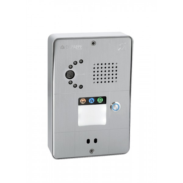 Interphone analogique gris compact 1 bouton caméra analogique ou IP