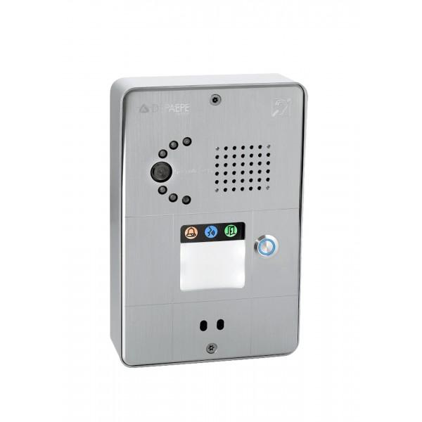 Interfone analógico compacto cinza 1 botão câmera analógica ou IP
