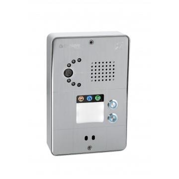 Compact gray analog intercom 2 buttons analog or IP camera