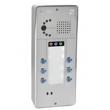 Interfone analógico cinza 6 botões câmara analógica ou IP