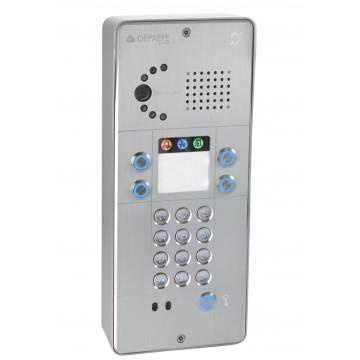 Interfone analógico cinza com teclado 4 botões câmara analógica ou IP
